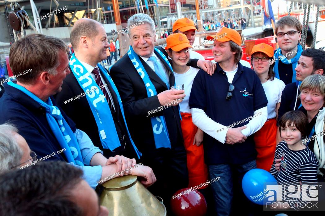 Hamburg's mayor Olaf Scholz (SPD, 2nd L), and German President Joachim  Gauck (3rd L) attends the..., Stock Photo, Picture And Rights Managed  Image. Pic. PAH-39175162 | agefotostock