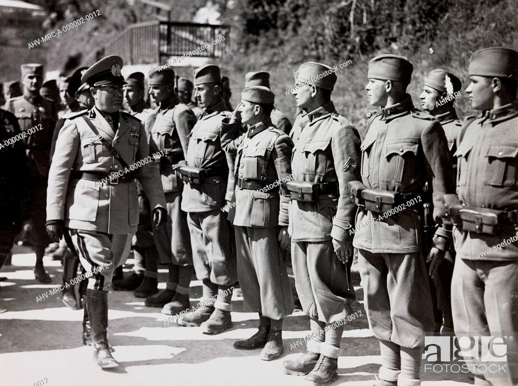 Stock Photo: Benito Mussolini controls the troops of the Kingdom of Yugoslavia, shot 1937.