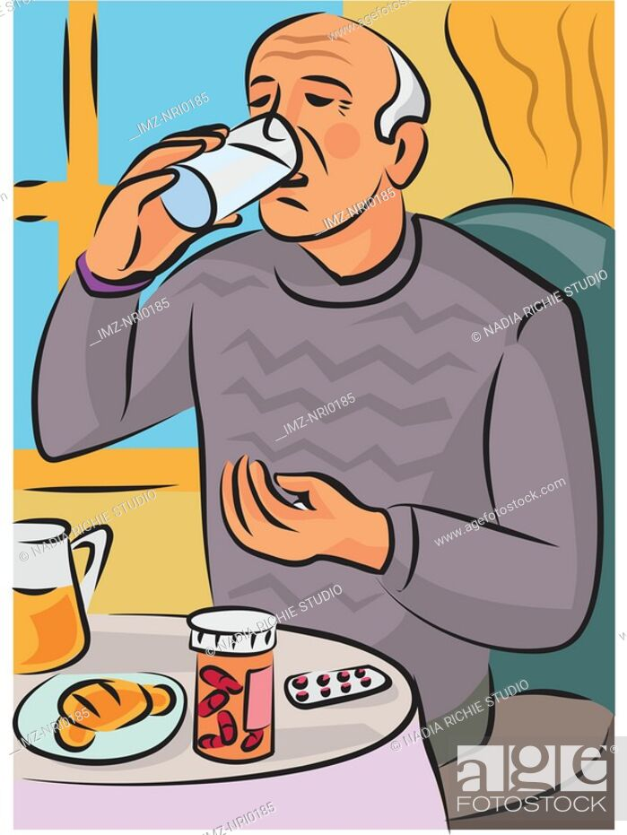 Stock Photo: An elderly man taking pills with a glass of water.