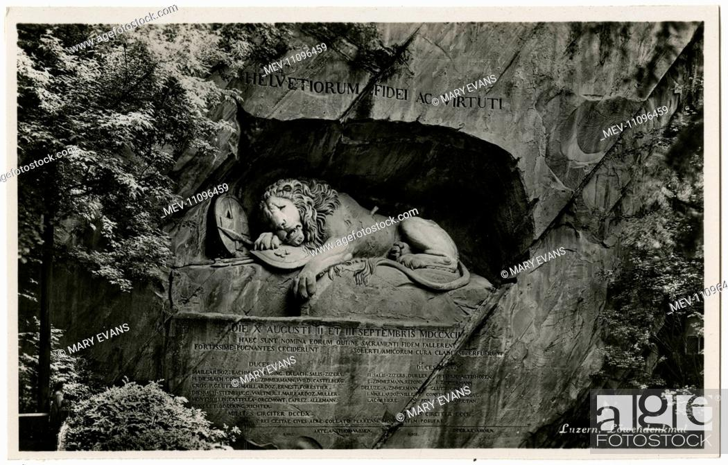 Stock Photo: The Lion of Lucerne, Switzerland. Designed by Bertel Thorvaldsen and hewn in 1820–21 by Lukas Ahorn, the statue commemorates the Swiss Guards who were massacred.