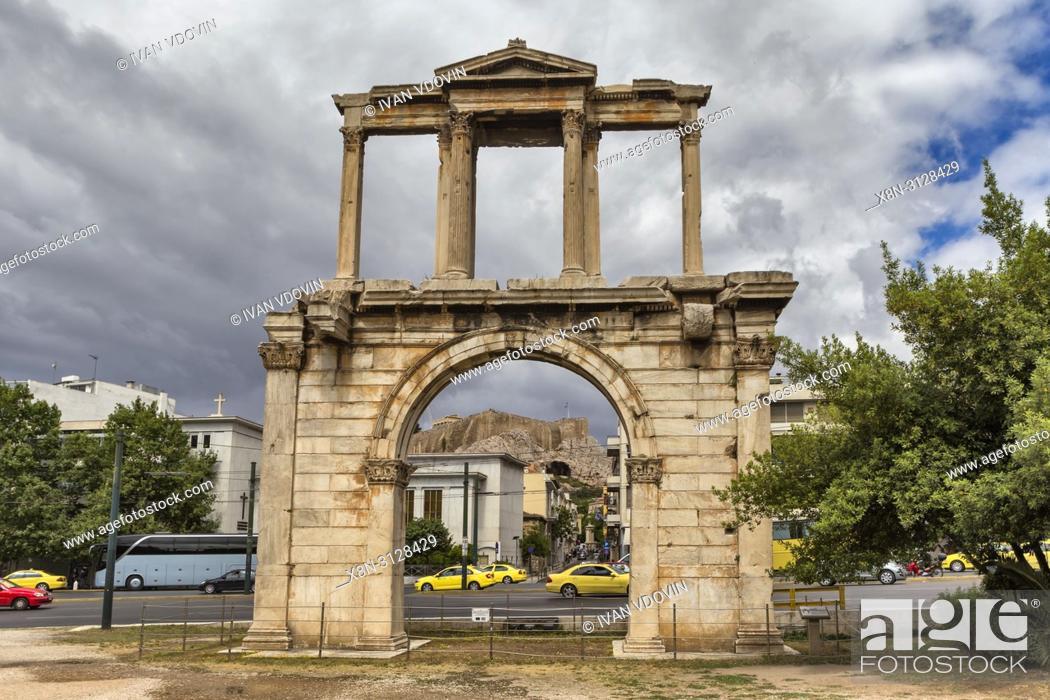 Stock Photo: Hadrian Arch (132 AD), Athens, Greece.