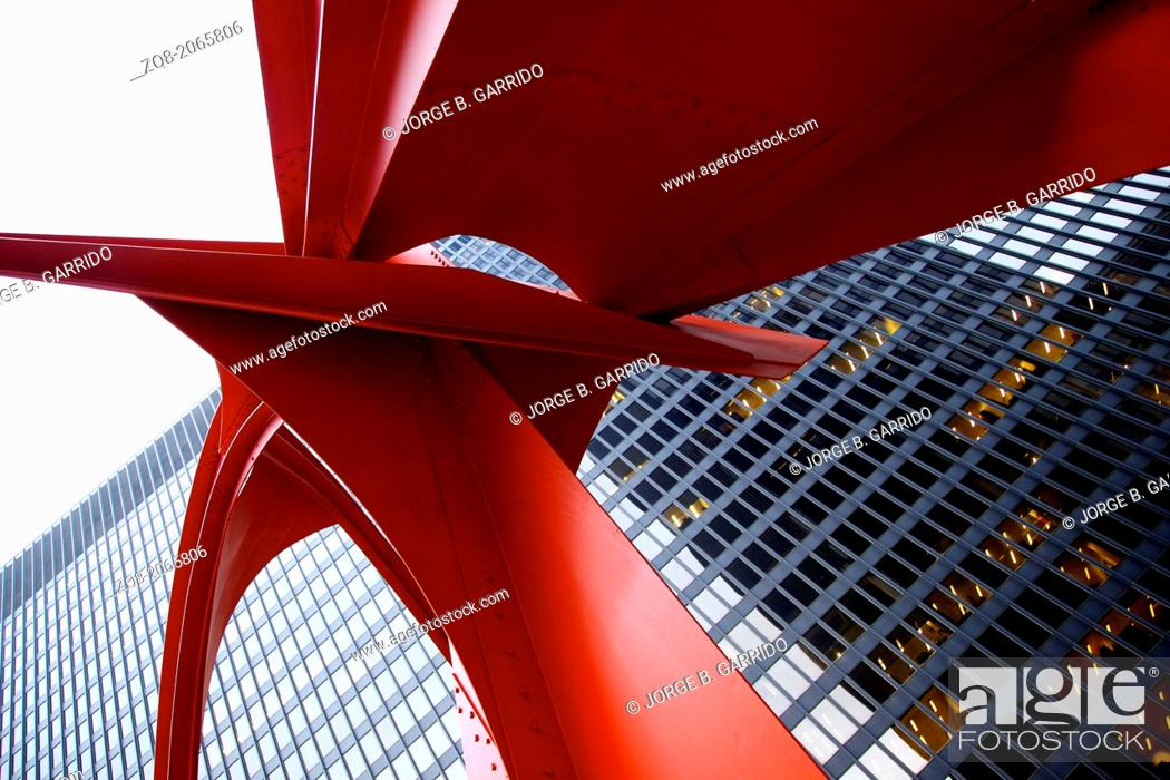 Stock Photo: Alexander Calder's Flamingo, in the Federal Plaza in Chicago.