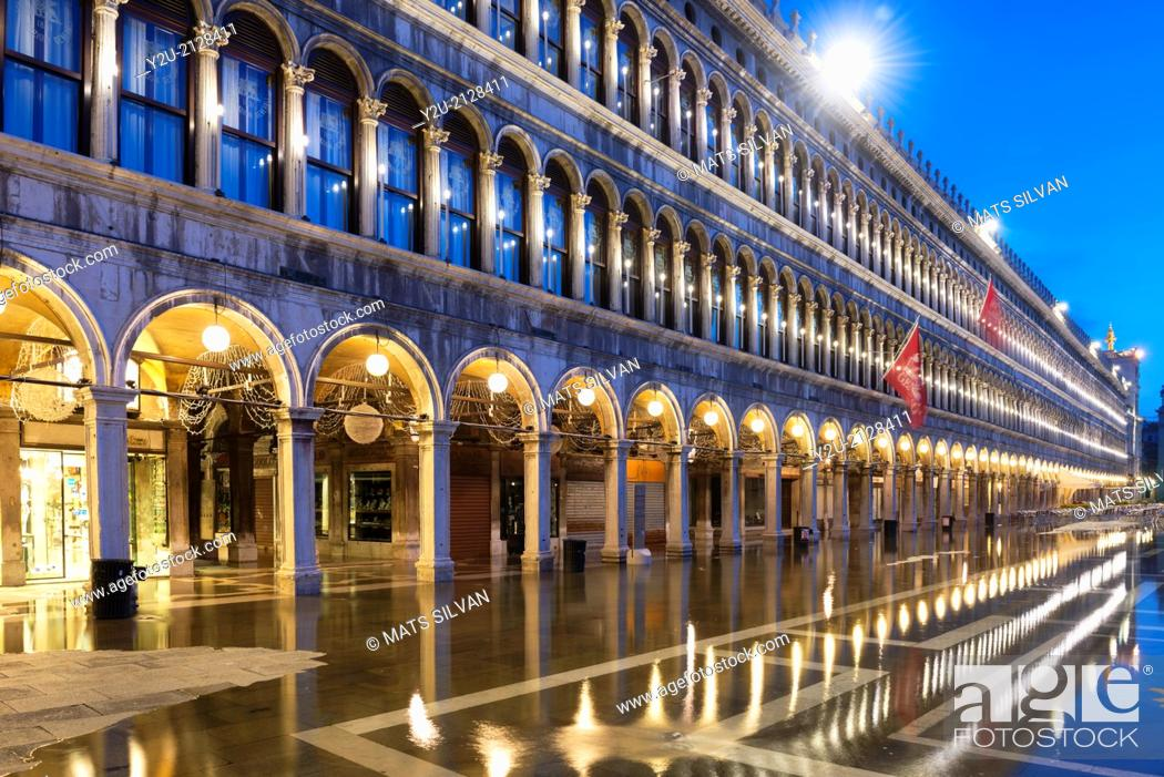Stock Photo: Mirror image in San Marco square in blue hour in Venice Italy.