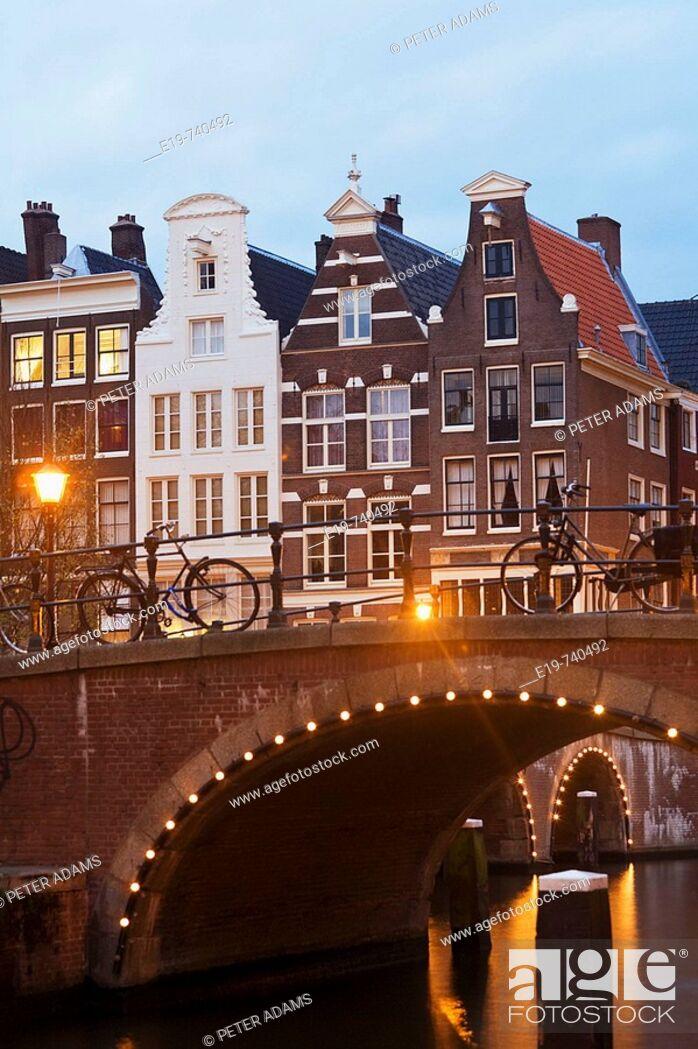 Stock Photo: Town houses & bridge, Prinsengracht, Amsterdam, The Netherlands.