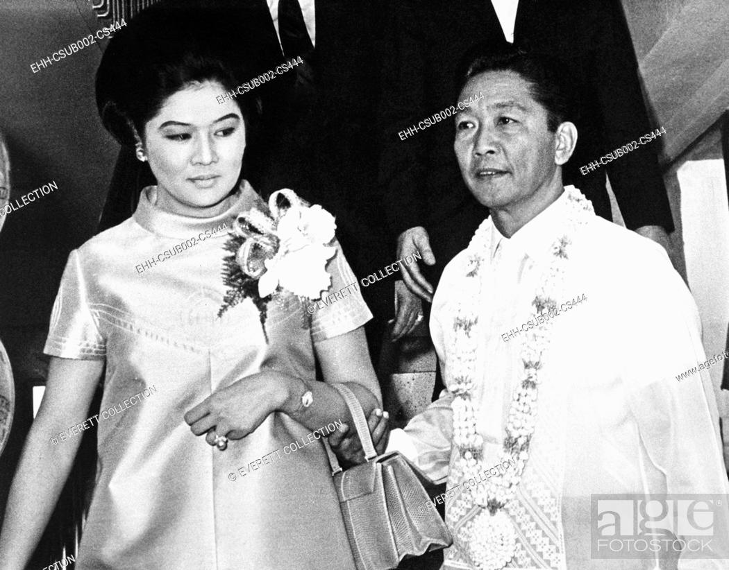 Stock Photo: President Ferdinand Marcos of the Philippines and his wife in Imelda Romualcez Marcos. April 15, 1969. He ruled as a dictator after imposing martial law from.