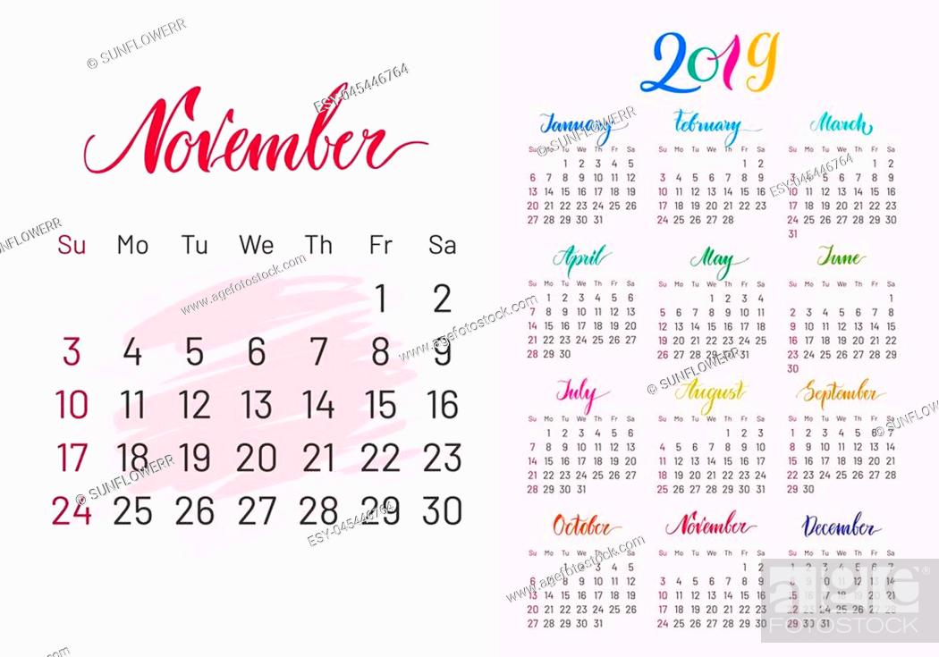 Stock Photo: Calendar, 2019, November separately, white-pink background, lettering, artboard. Stylish annual planner for modern people. illustration of chart.