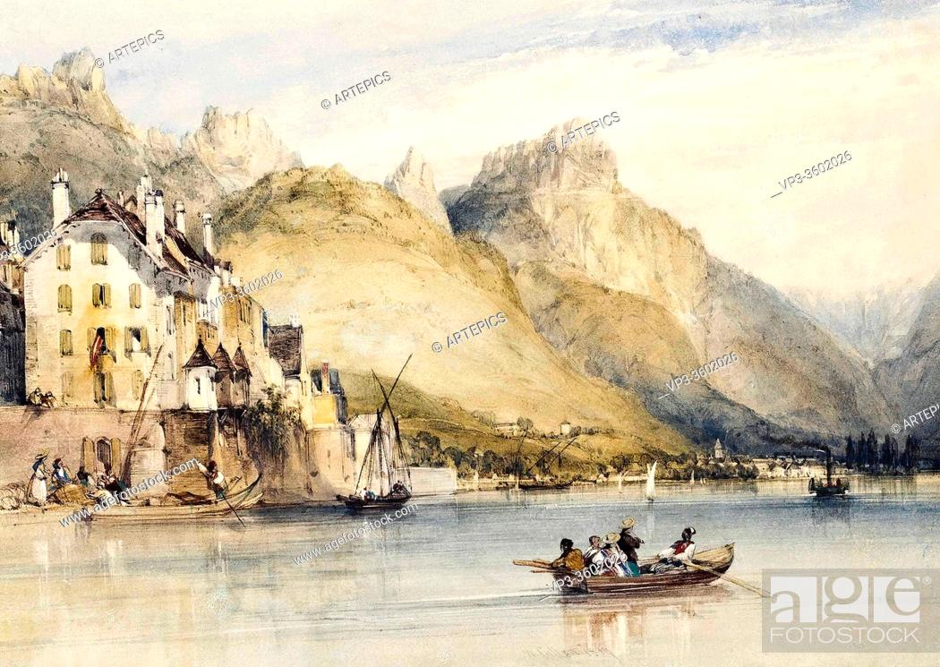 Stock Photo: Callow William - Figures on a Boat on a Swiss Lake - British School - 19th Century.