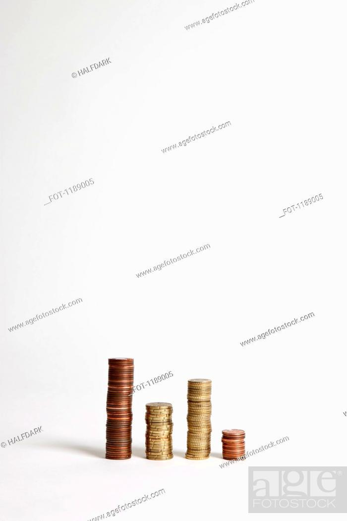 Stock Photo: Stacks of various European Union coins.