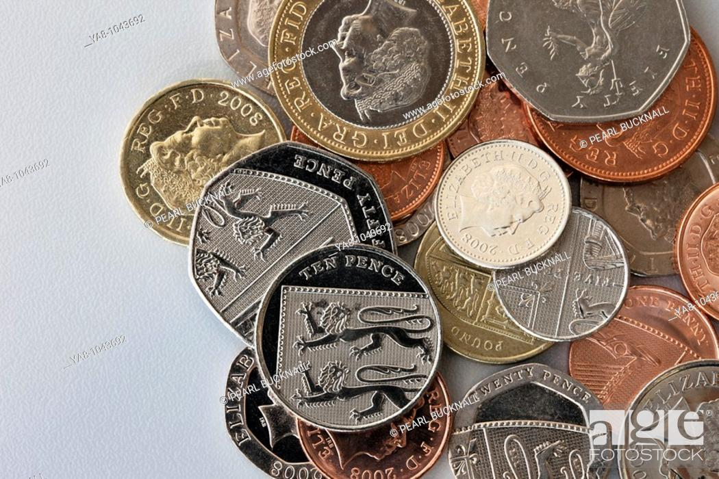 Stock Photo: Pile of UK sterling coins in various denominations.