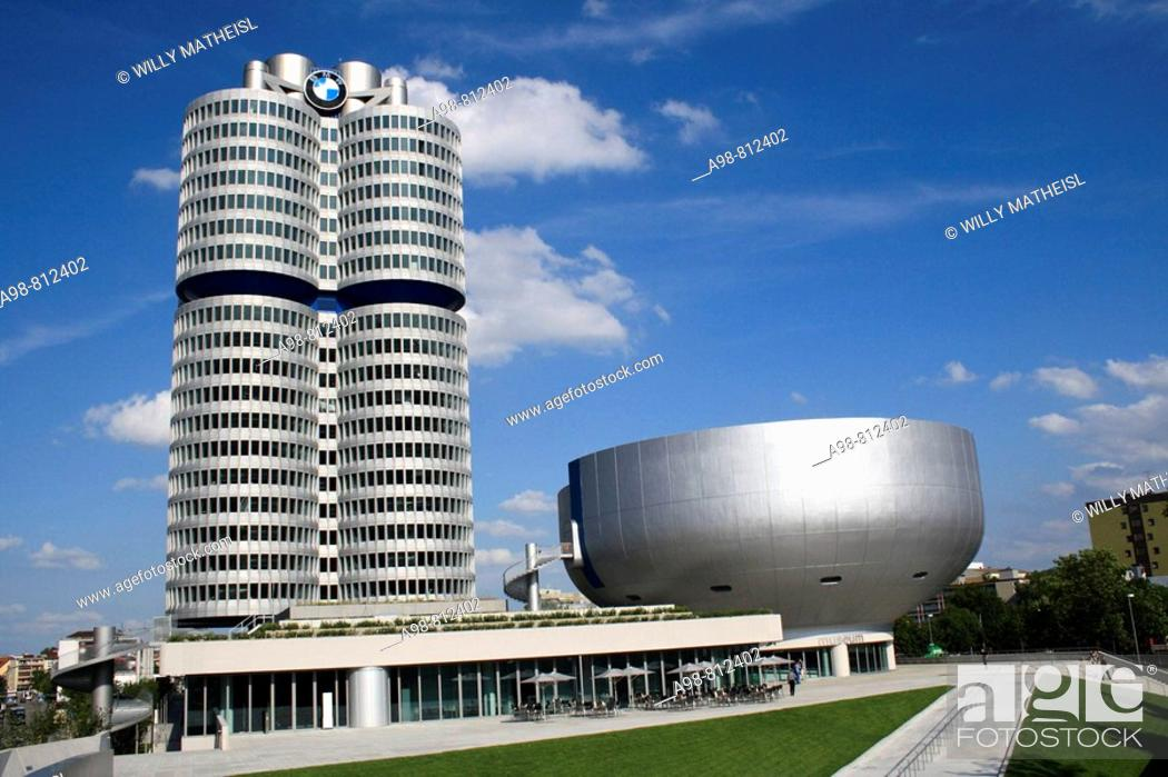 Stock Photo: car factory BMW, administration building and museum, Munich, Germany.