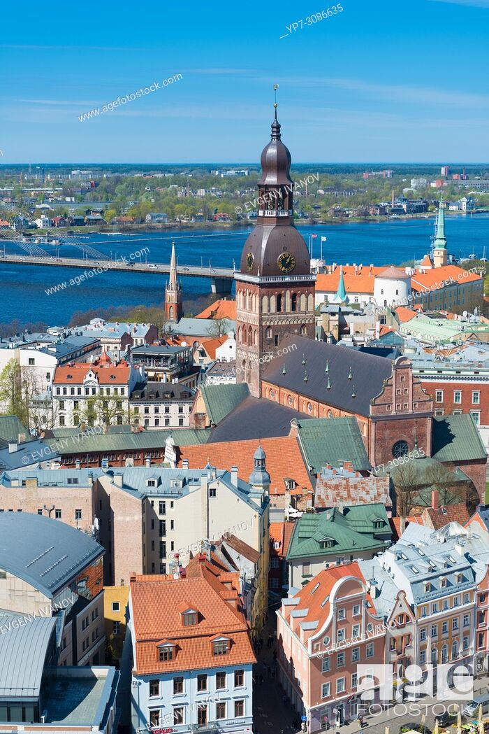 Stock Photo: View of Riga from St Peter's Church with Dome Cathedral and the Stone bridge, Riga, Latvia.