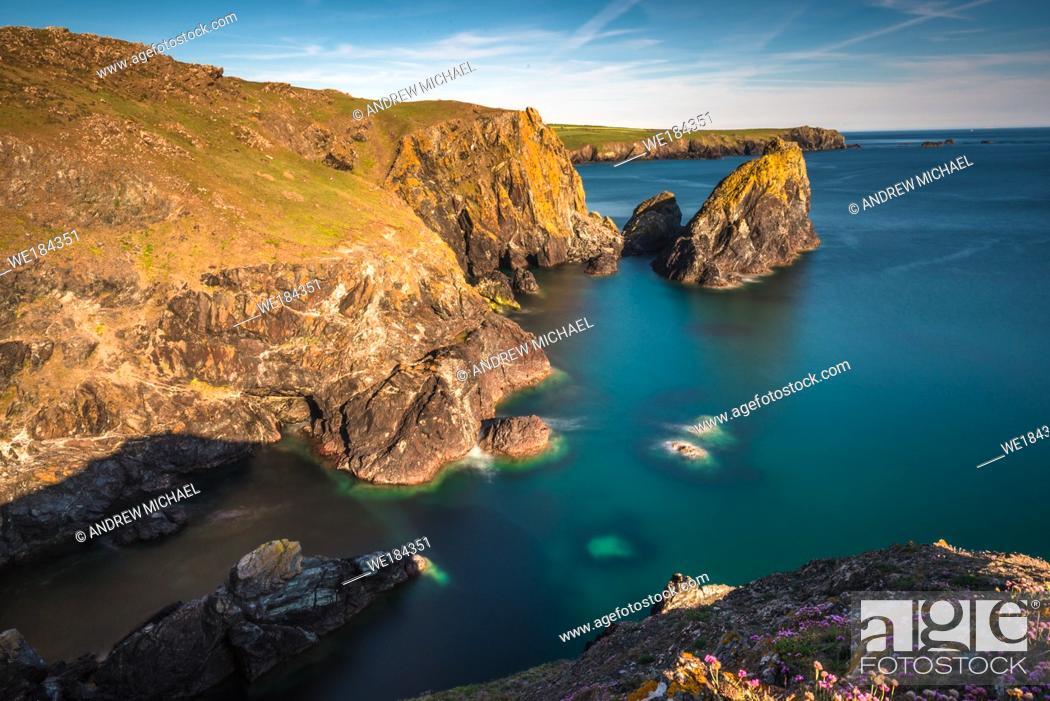 Stock Photo: Dramatic scenery at Kynance Cove on the Lizard peninsula, Cornwall, England, United Kingdom, Europe.