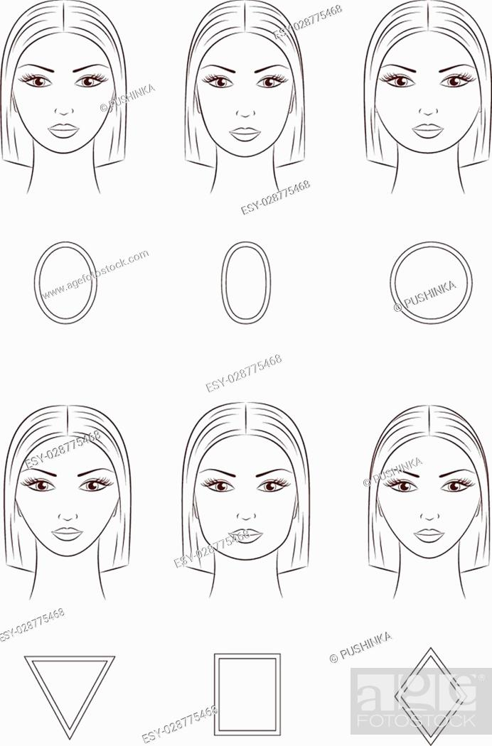 Enjoyable Vector Illustration Of Womens Face Different Face Shapes Stock Natural Hairstyles Runnerswayorg