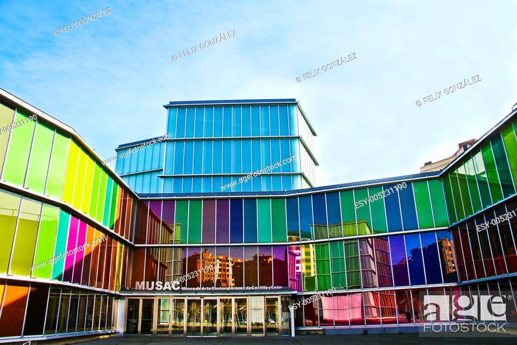 Stock Photo: MUSAC, Museo de Arte Contemporaneo de Castilla and Leon, Leon, Castile and Leon, Spain.