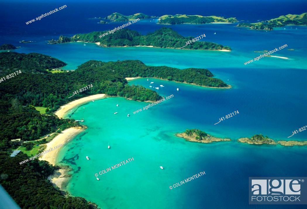 Stock Photo: Moturua Island Bay of Islands from the air New Zealand.