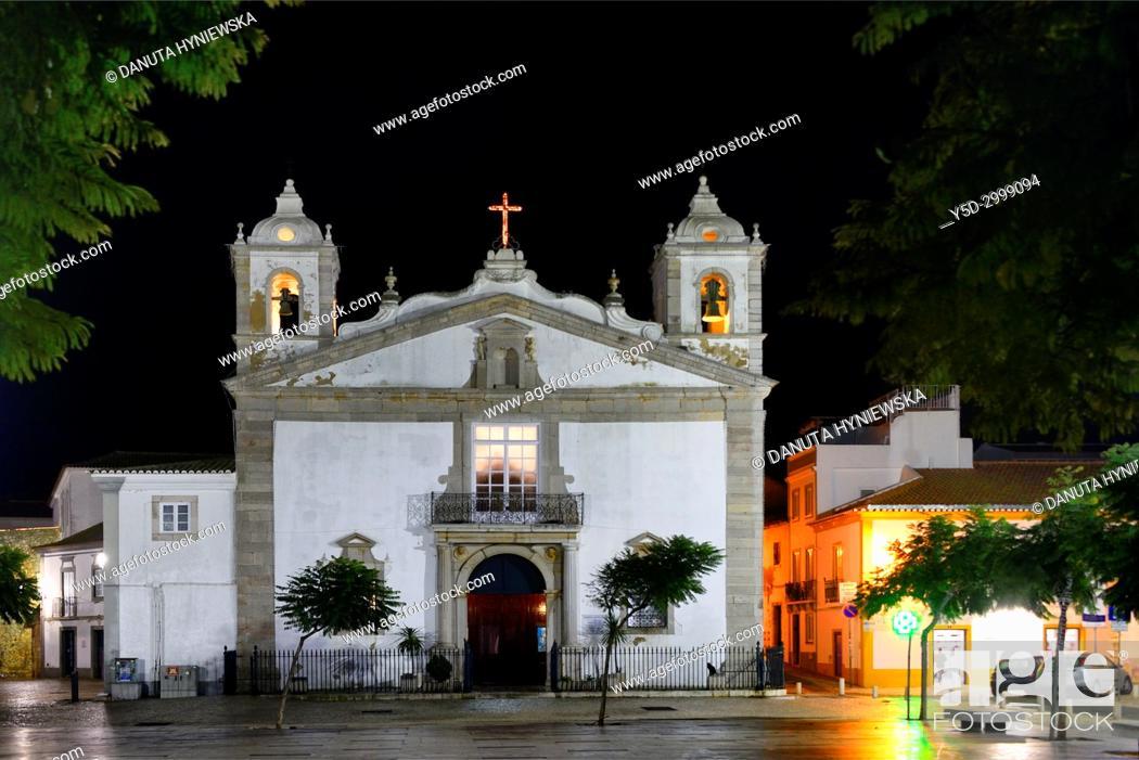 Stock Photo: historic part of Lagos city at night, Praca Infante Dom Henrique, Igreja de Santa Maria, Algarve, Portugal, Europe.