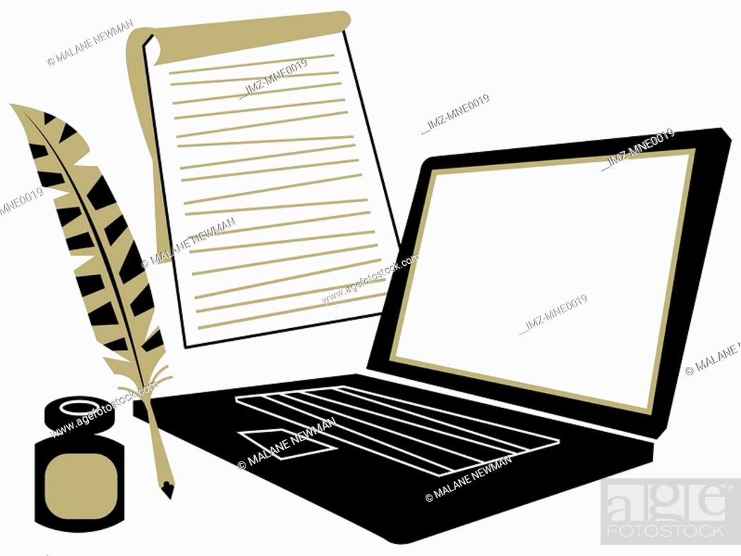 Stock Photo: A laptop computer, a notepad, a quill and inkwell.