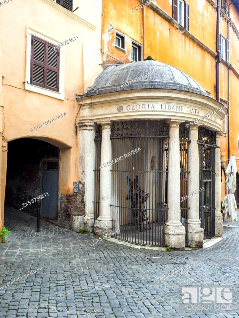 Stock Photo: Tempietto del Carmelo (Temple of Carmel) raised in 1759 by a family of grocers to protect an image dedicated to S. Maria del Carmine is situated in the Jewish.