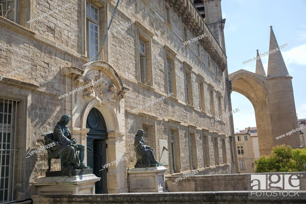 Imagen: Old medecine university entrance. Montpellier. Barthes and Lapeyronie statues.