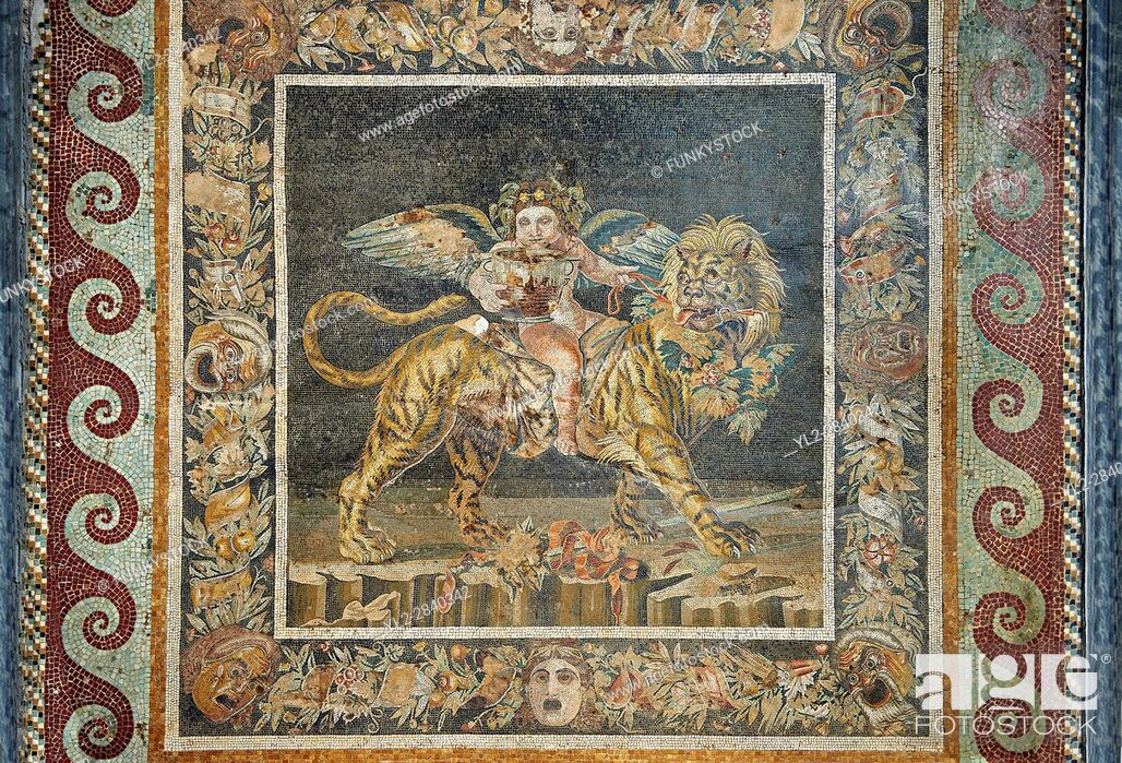 Stock Photo: Roman mosaic of Naples Archaeological Musum, Italy.
