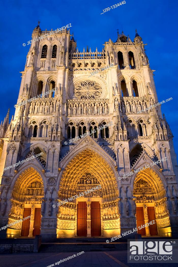 Stock Photo: Night view  Cathedral of Notre Dame, from XIII Century, in Amiens listed as World Heritage by UNESCO  It's the Highest ghotic cathedral of France.