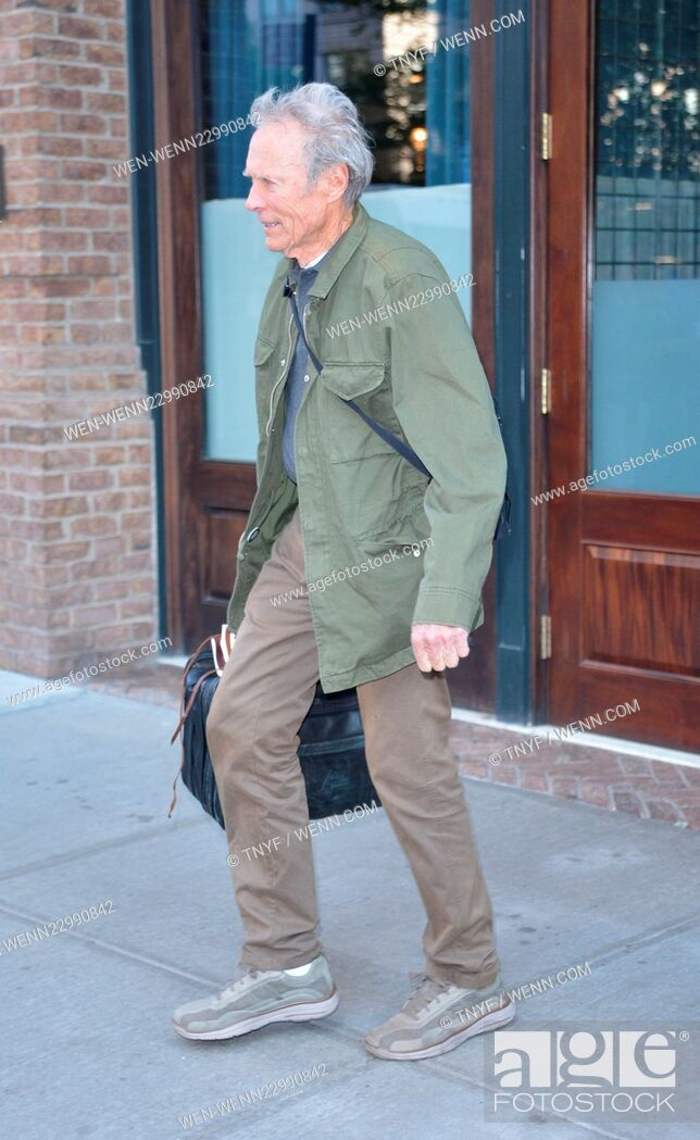 Stock Photo: Clint Eastwood leaving his hotel Featuring: Clint Eastwood Where: Manhattan, New York, United States When: 07 Oct 2015 Credit: TNYF/WENN.com.