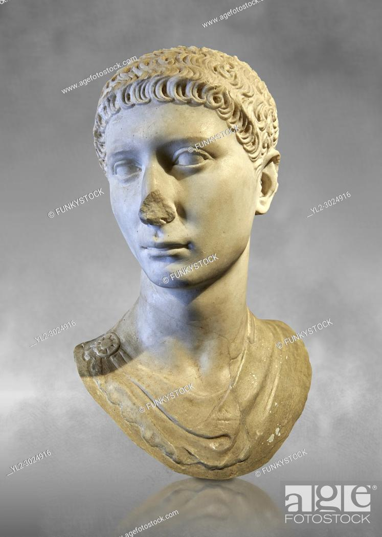 Stock Photo: Roman portrait bust of a young charioteer from the age of Domitian, 81-96AD. This statue of a young charioteer, with Oriental eastern Mediterranean features.