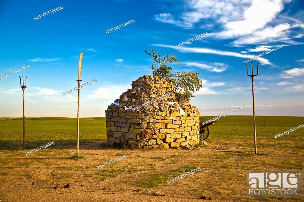 Stock Photo: Shrine on a landscape, Inner Mongolia, China.