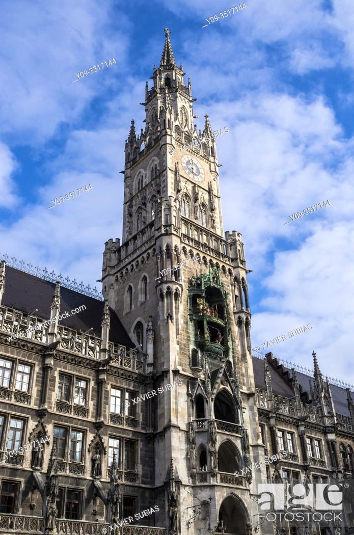 Stock Photo: Town Hall, Marienplatz, Munich, Bavaria, Germany.
