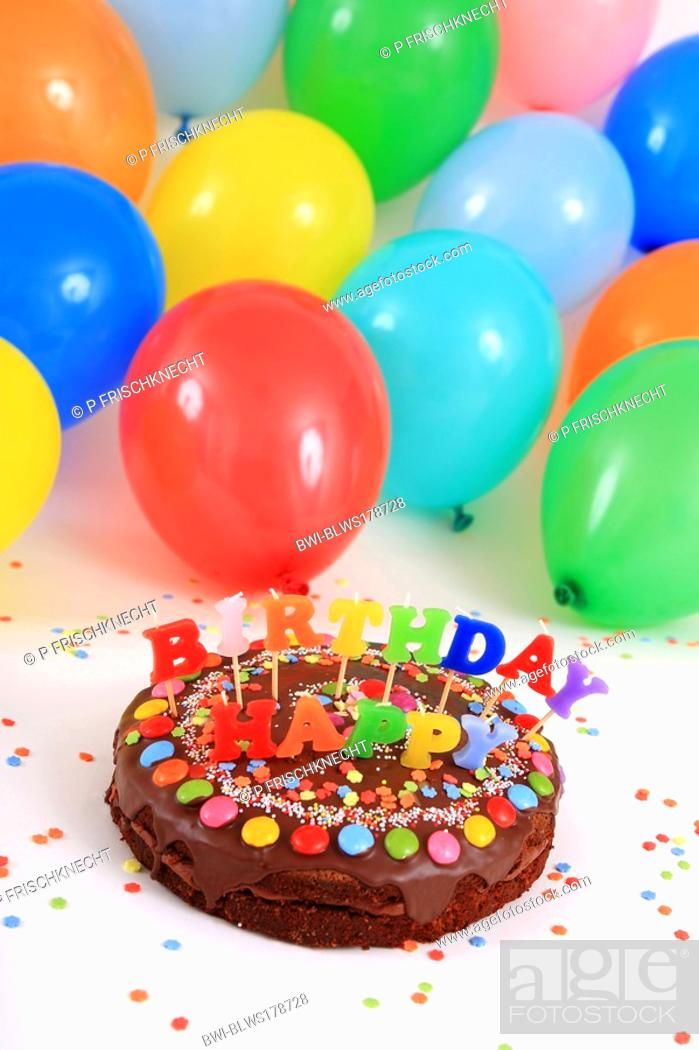 Enjoyable Happy Birthday Chocolate Cake With Candles And Balloons Stock Funny Birthday Cards Online Fluifree Goldxyz