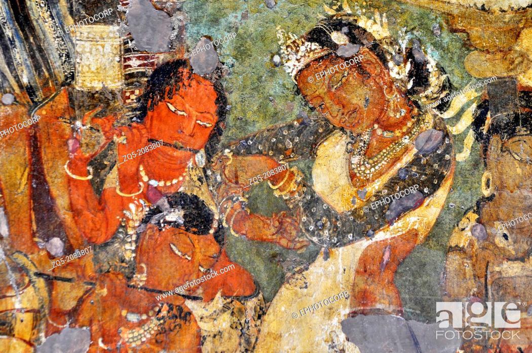 Imagen: Cave 1: Mahajanaka Jataka - Dancing scene. Ajanta Caves, Aurangabad, Maharashtra, India.