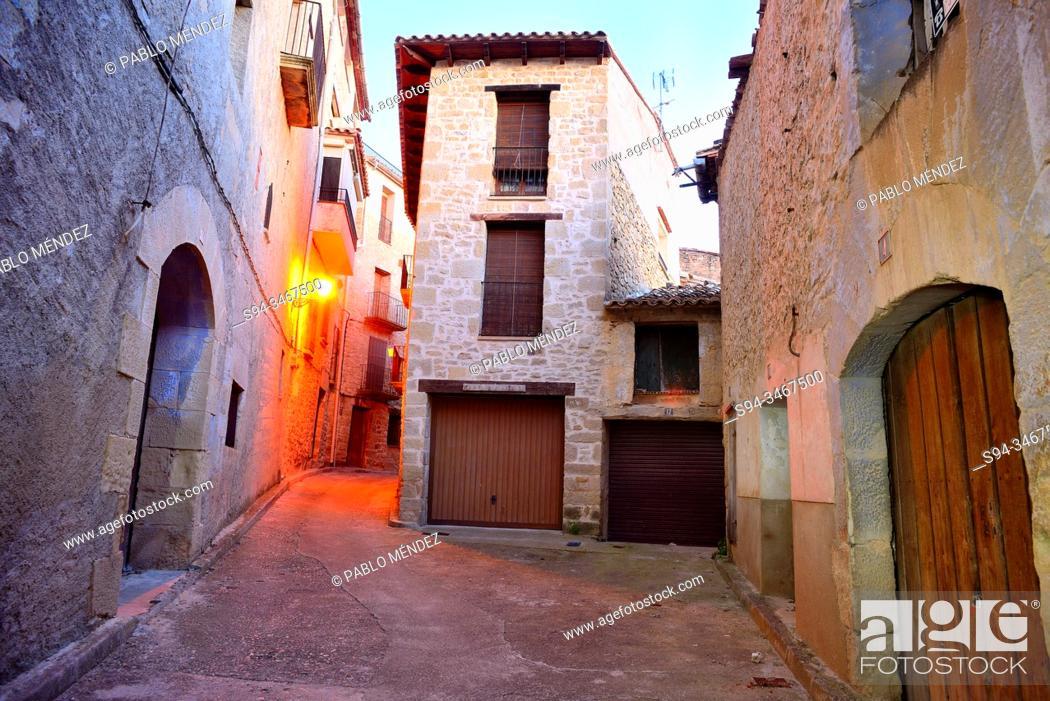 Stock Photo: Small Square in Torre del Compte, Matarraña region, Teruel, Spain.
