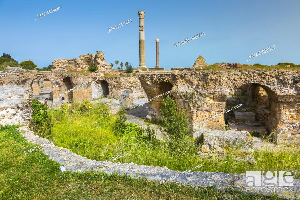 Stock Photo: Roman ruins. Baths of Antoninus. Carthage. Tunisia, Africa.