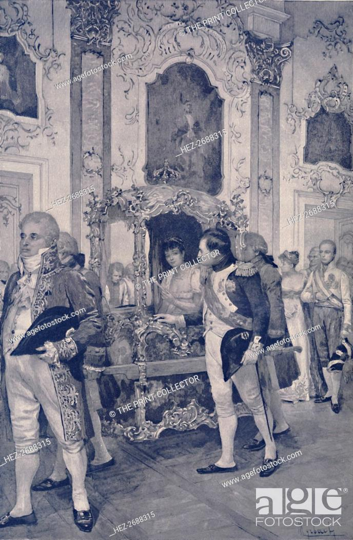 Stock Photo: 'Napoleon and the Empress of Austria at Dresden', 1812, (1896). Artist: Unknown.
