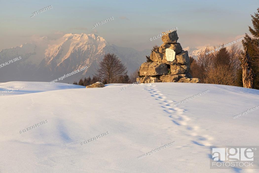 Stock Photo: The partisan tombstone on Costa Mount, Prealps of Belluno, Farra d'Alpago, Belluno province, Veneto, Italy.