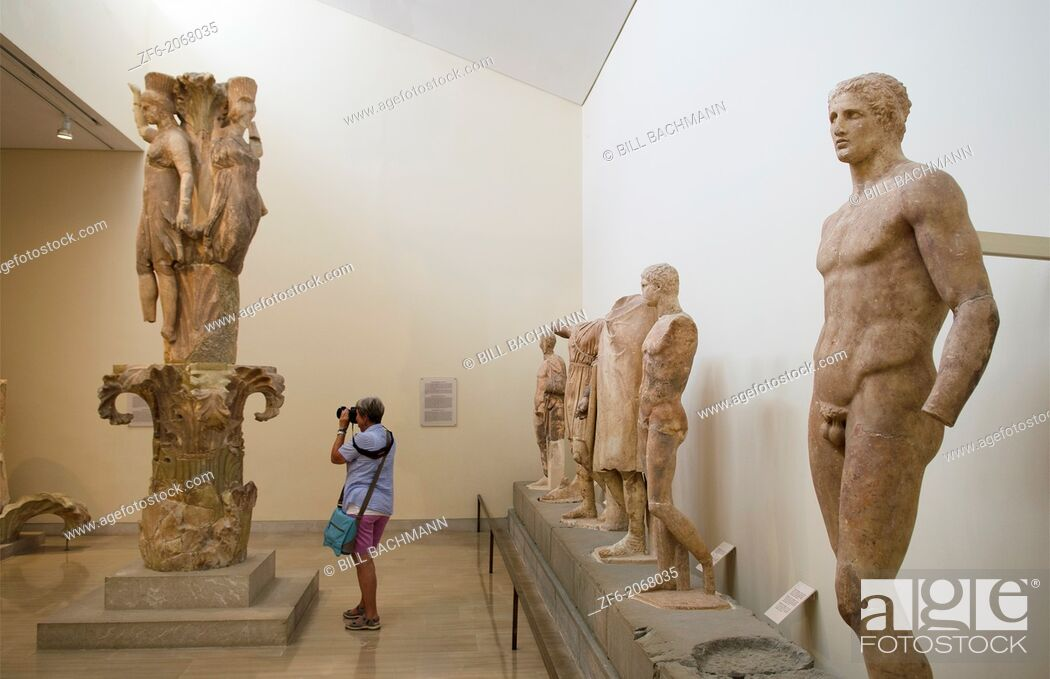Stock Photo: Greece Delphi famous Museum of Delphi with old Egyptian statues in 500 BC artifacts.