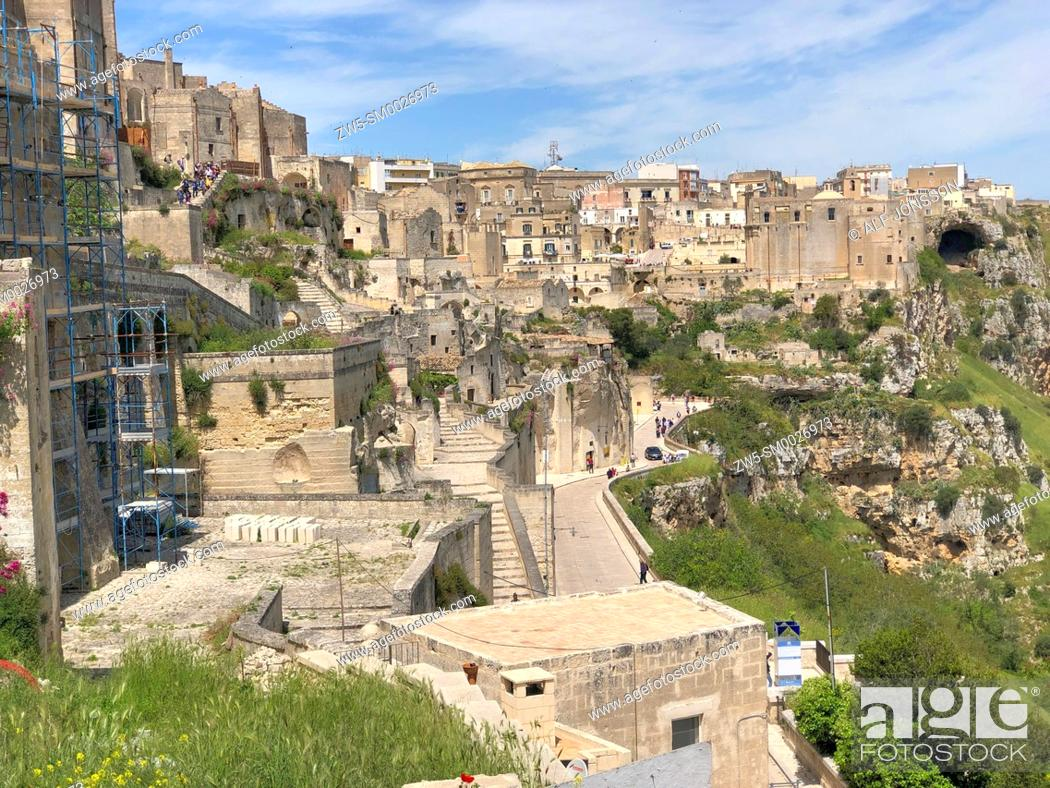 Stock Photo: Houses in Matera with canyon with caves, Sassi di Matera, Basilicata, Italy.