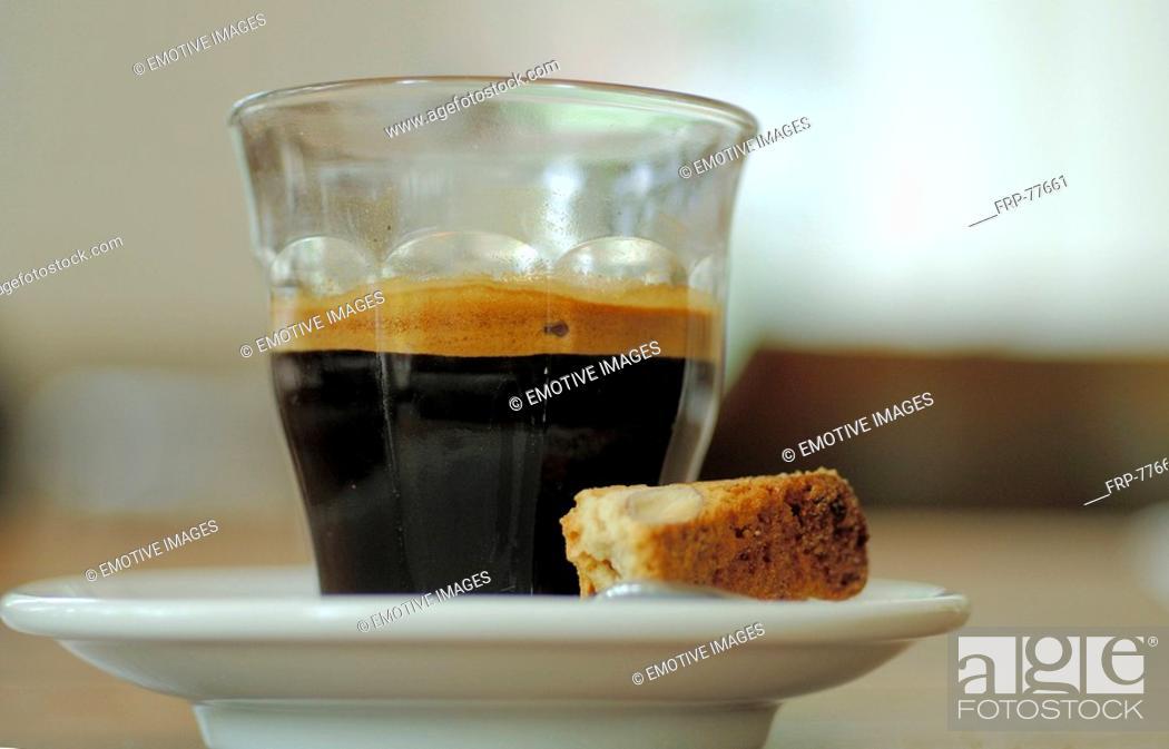 Stock Photo: Espresso with piece of cake.
