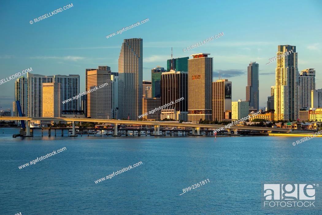 Stock Photo: Skyline Downtown Biscayne Bay Miami Florida Usa.