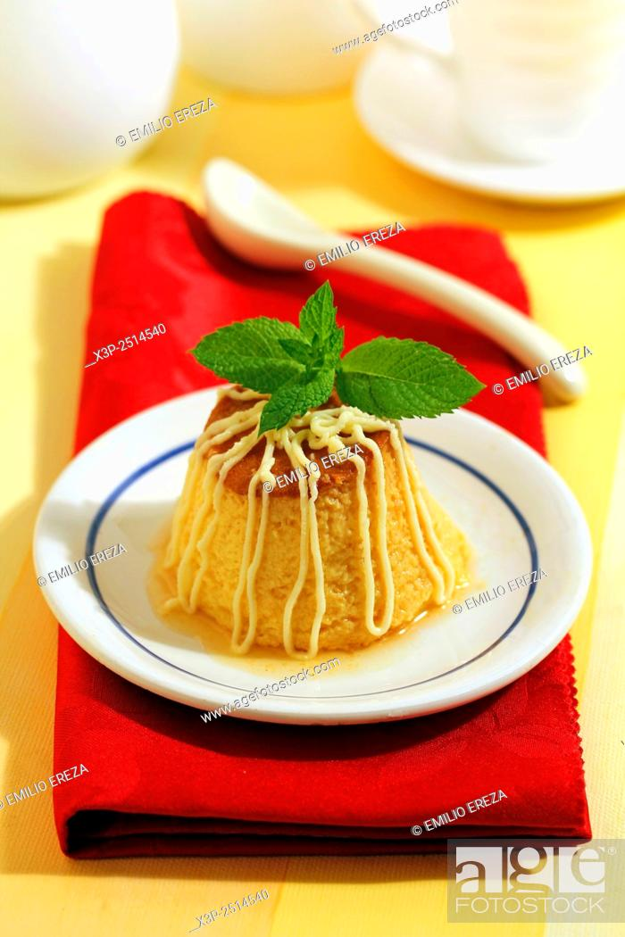Stock Photo: Creme caramel with pear and white chocolate.