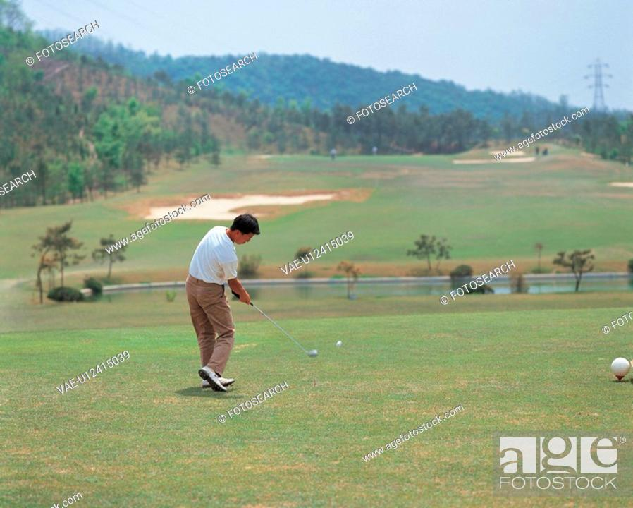 Stock Photo: golfer, scenery, golf course, outdoors, scenic, recreation sports, landscape.