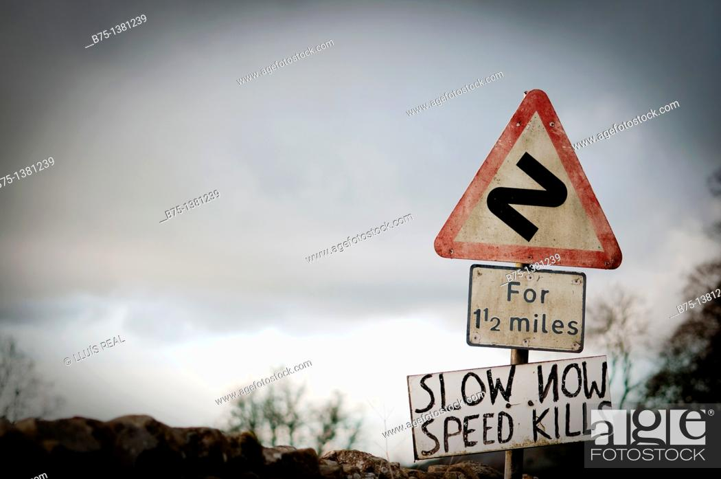 Stock Photo: Traffic sign in old road in Yorkshire Dales, England, UK.