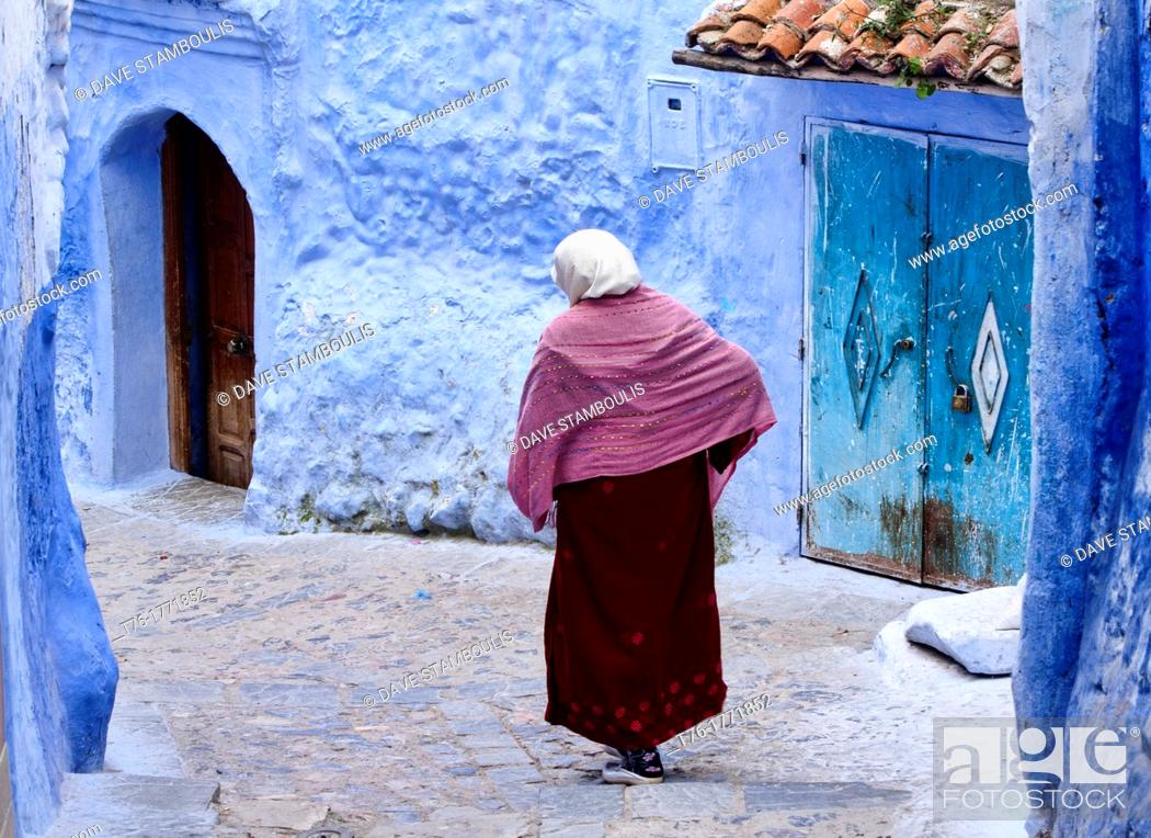 Stock Photo: street scene in the atmospheric blue town of Chefchaouen, Morocco.