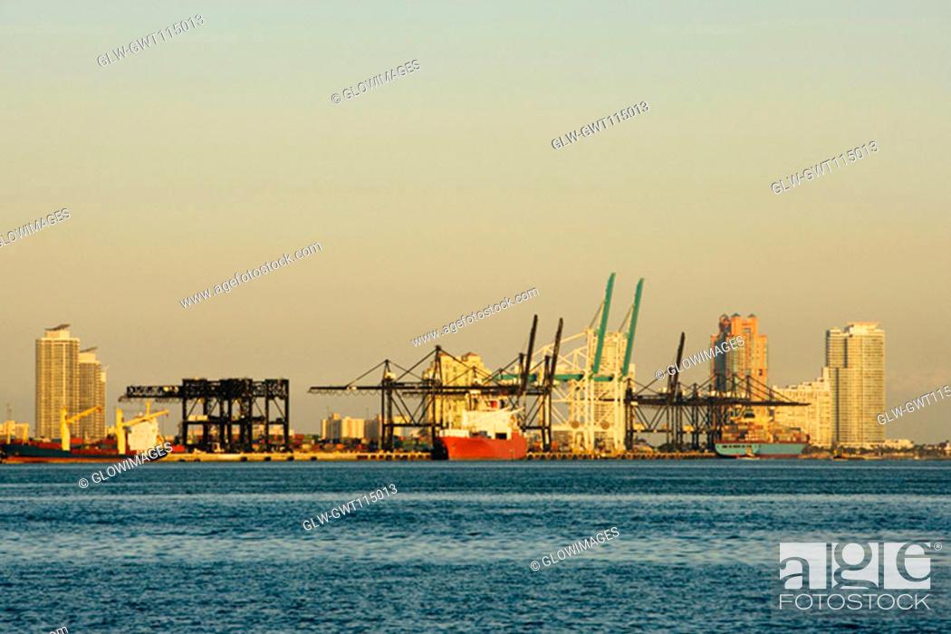 Stock Photo: Cruise ship at a harbor, Miami, Florida, USA.