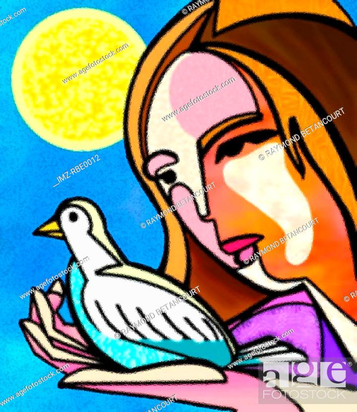 Stock Photo: woman holding a dove.