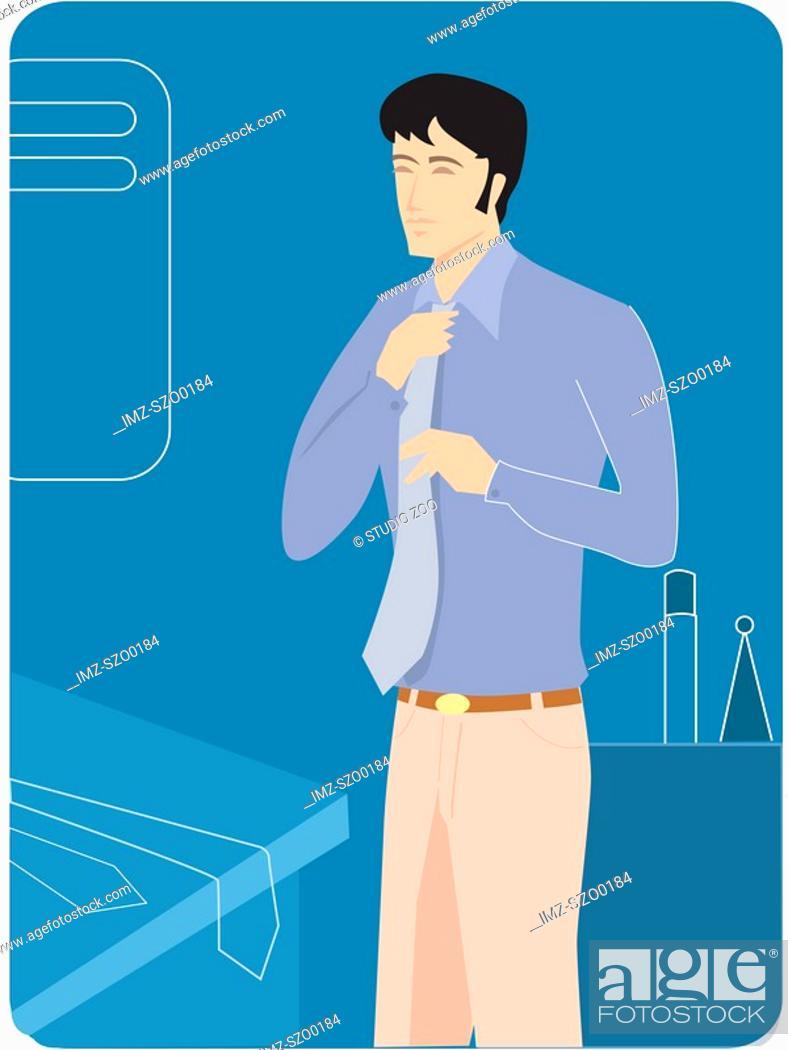 Stock Photo: Man adjusting his tie.