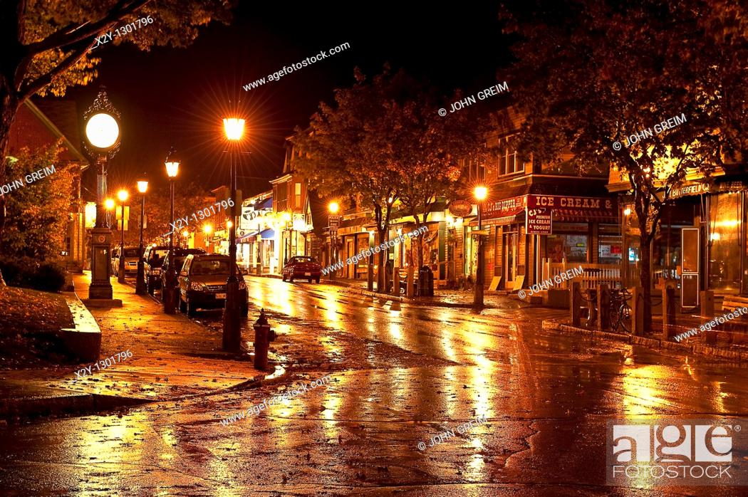 Stock Photo: Town of Bar Harbor at night, Maine, ME, USA.