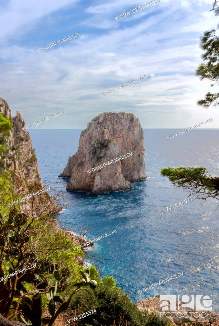 Stock Photo: Faraglioni rock on Capri island, Italy. One of magic views in Capri island, close to Naples. By the way, locals say that they have seen sirens on this rock and.