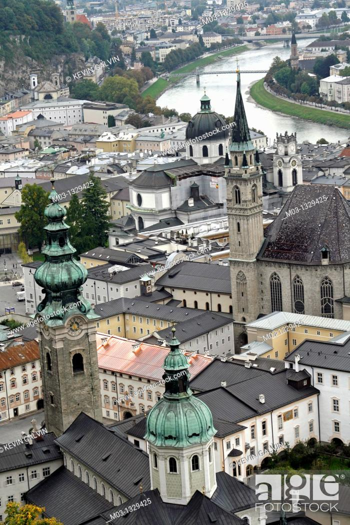 Stock Photo: Old view of city from castle including cathedral and Salzach River, Salzburg, Austria.