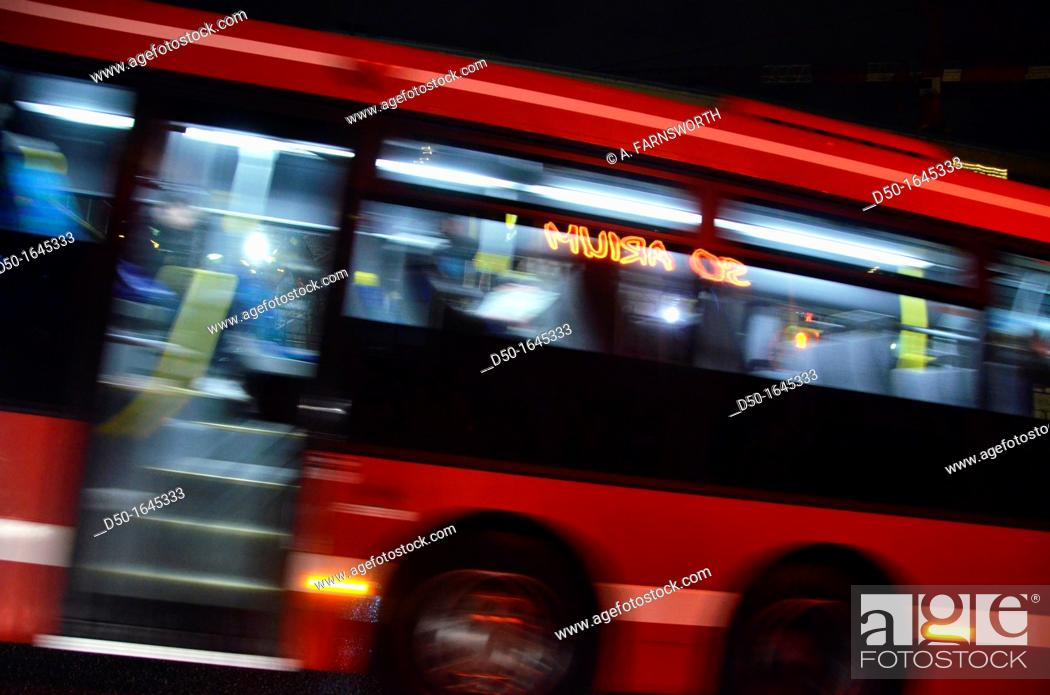 Stock Photo: City bus on a cold dark night, Stockholm, Sweden.